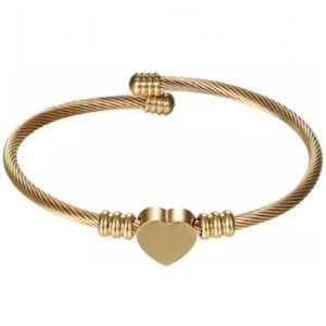 Jewelry - 2 for $18❤️ Gold Heart Bangle Stainless Steel